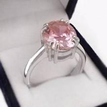Strieborný prsteň s ružovým zirkónom (KPS139)
